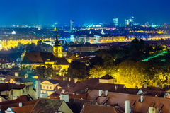 Night aerial view of cityscape of Prague, Czech Royalty Free Stock Photos