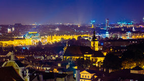 Night aerial view of cityscape of Prague, Czech Stock Photos