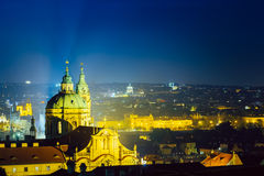 Night aerial view of cityscape and St. Nicholas Royalty Free Stock Photography
