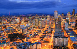 Night aerial view of downtown Seattle Stock Images
