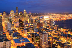 Night aerial view of downtown Seattle royalty free stock photos
