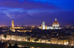 Night aerial view of Florence with Cathedral of Santa Maria del Fiore  Duomo , Palazzo Vecchio Stock Photo