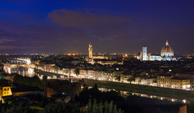 Night aerial view of Florence with Cathedral of Santa Maria del Fiore  Duomo , Palazzo Vecchio and Ponte Vecchio Stock Photography