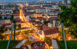 Night aerial view of Ljubljana Stock Images