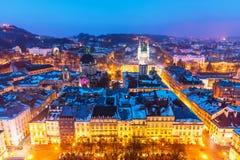 Night aerial view of Lviv, Ukraine stock image