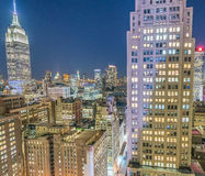 Night aerial view of Midtown Manhattan, New York CIty Royalty Free Stock Photography