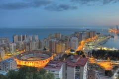 Night aerial view Málaga Royalty Free Stock Image
