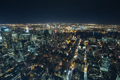 Night aerial view of New York City Royalty Free Stock Image