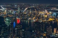 Night aerial view of New York City Stock Image