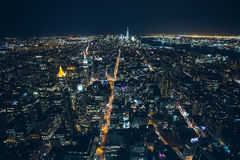 Night aerial view of New York City Stock Images