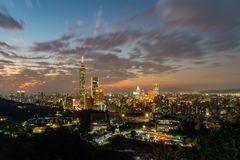 Free Night Aerial View Of The Taipei 101 And Cityscape From Xiangshan Royalty Free Stock Photos - 146768388