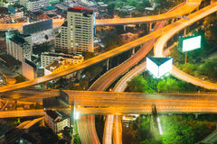 Night aerial view overpass highway intersection Royalty Free Stock Photography