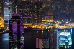 Night aerial view panorama of Hong Kong skyline and Victoria Harbor Stock Photos