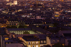Night aerial view on Paris. France Stock Image