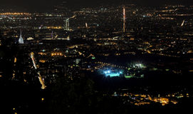 Night aerial view of the populous European metropolis. With many city lights Royalty Free Stock Images