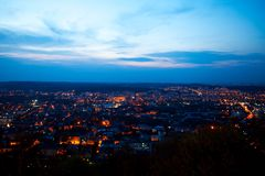 Night aerial view of the populous with many city lights. A Stock Photo