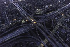 Los Angeles Night Freeway Interchange Aerial View Royalty Free Stock Photos