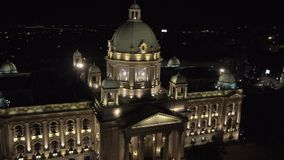 Night aerial view on Serbian parliament building stock footage