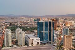 Night aerial view of The Strip in Las Vegas royalty free stock photos