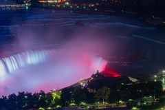 Night aerial view of the Table Rock Welcome Centre of the beautiful Niagara Falls. At Canada stock photo
