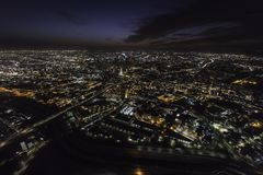 Night Aerial Los Angeles California. Night aerial view towards urban downtown buildings and streets in Los Angeles California Royalty Free Stock Image