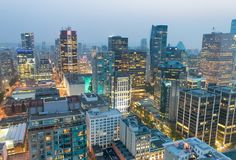 Night aerial view of Vancouver skyscrapers from city rooftop - B stock image