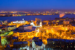 Night aerial Voronezh cityscape. Soviet square, Intercession Cathedral, concert hall.  Stock Photography