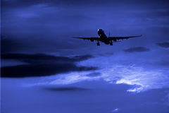 Night airplane  Stock Image