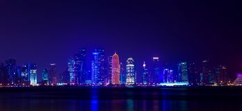 Night Al Dafna - seaside district of the Qatari capital Doha loc. Ated on the Persian Gulf Royalty Free Stock Photography