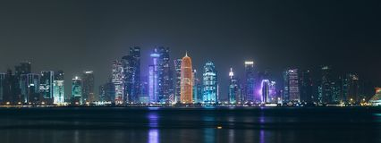 Night Al Dafna - seaside district of the Qatari capital Doha located on the Persian Gulf stock images