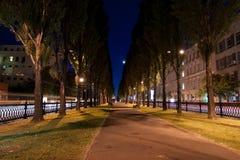 Night in alley. In Kiev city, Ukraine Stock Image