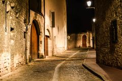 Night Alley Beaune Large Doors and Steet lamps stock images