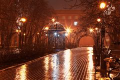 Night alley in the city park. Scenic view of empty night alley in the city park in rain Royalty Free Stock Image