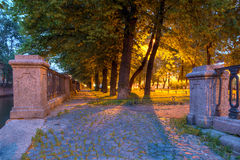 Night alley on embankment of Griboedov Canal Stock Photo
