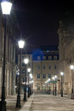 Night alley lights. In an European city Stock Image
