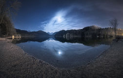 Night in Alpsee lake in Germany. Beautiful landscape Royalty Free Stock Photography