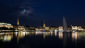 Night Alster Royalty Free Stock Photo