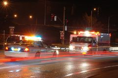 Night Ambulance. Ambulance and emergency equipment at a motor vehicle accident at night stock photos