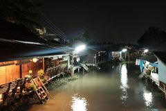 Night in Amphawa. Serene night in the floating town of Amphawa Thailand Stock Photography