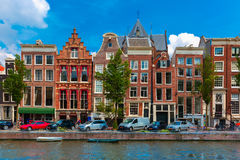 Night Amsterdam canal with dutch houses Royalty Free Stock Photos