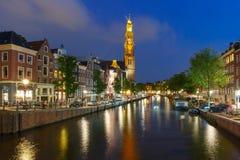 Night Amsterdam canal and Westerkerk church Stock Image