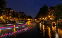 Night Amsterdam canals Stock Image