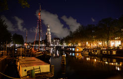 Night amsterdam channel in summer Stock Photography