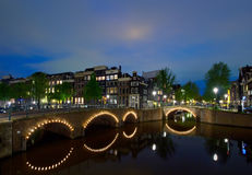 Night in Amsterdam, Holland Stock Photo
