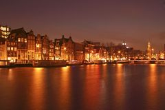 Night in Amsterdam in the Netherlands Royalty Free Stock Images