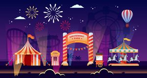 Night amusement park vector illustration. Carousels, circus, fair in park. Carnival, festival and entertainment themes royalty free illustration