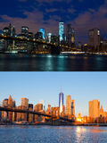Night And Morning Over Manhattan. Single Shooting Point Royalty Free Stock Image