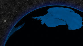 Night in Antarctica. With city lights viewed from space. Elements of this image furnished by NASA stock illustration