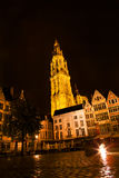 Night  Antwerp architecture Royalty Free Stock Photo