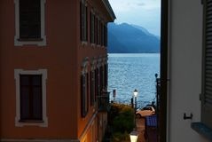 Night approaching in lake como Royalty Free Stock Images